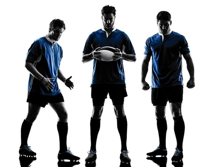 rugby: caucasian rugby men players in studio silhouette isolated on white background