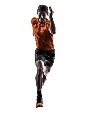 ein junger Mann Läufer Jogger Laufen Joggen in Silhouette isoliert auf weißem Hintergrund Standard-Bild