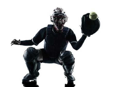 een vrouw spelen softbal spelers in silhouet op een witte achtergrond