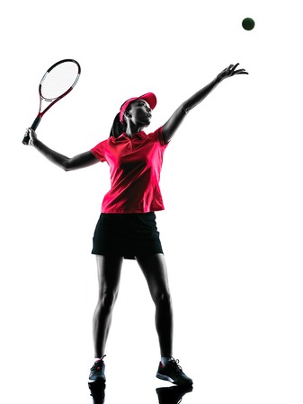 woman white background: one woman tennis player sadness in studio silhouette isolated on white background
