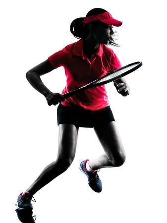 een vrouw tennisspeler verdrietig in studio silhouet geïsoleerd op een witte achtergrond