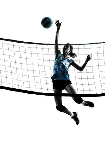 ein kaukasisch Frau Volleyball im Studio Silhouette auf weißem Hintergrund