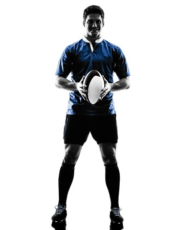 rugby: one caucasian rugby man player  in studio  silhouette isolated on white background