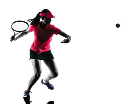 tenis: tenista una mujer de la tristeza en el estudio de la silueta aislado en el fondo blanco