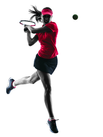 on a white background: one woman tennis player sadness in studio silhouette isolated on white background