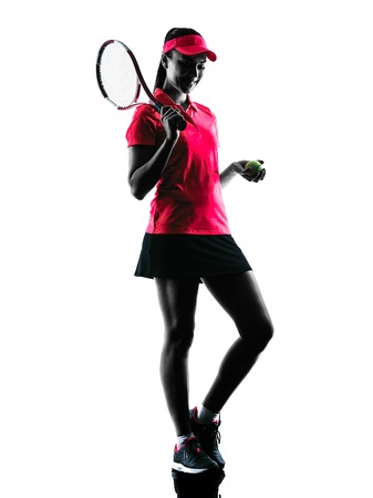 studios: one woman tennis player sadness in studio silhouette isolated on white background