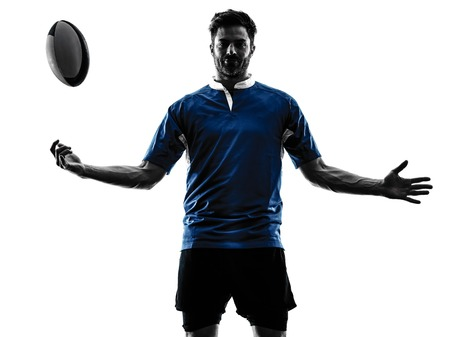 shadow silhouette: one caucasian rugby man player  in studio  silhouette isolated on white background
