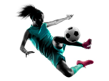 one teenager girl child  playing soccer player in silhouette isolated on white background 스톡 콘텐츠