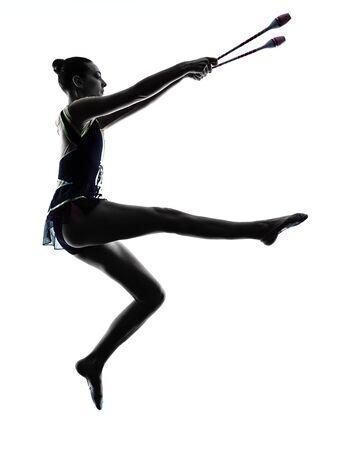 rhythmische sportgymnastik: ein kaukasisch Frau, die Aus�bung der Rhythmischen Sportgymnastik in der Silhouette isoliert auf wei�em Hintergrund