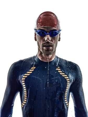 swimmer: man triathlon ironman athlete swimmers portrait in silhouette on white background
