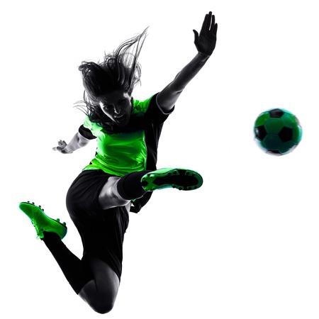 siluetas mujeres: una mujer jugador de jugar al f�tbol en la silueta aislado en el fondo blanco Foto de archivo