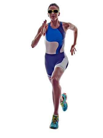 Frau Triathlon Ironman Athlet running auf weißem Hintergrund Standard-Bild
