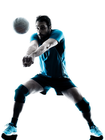 one caucasian man volleyball in studio silhouette isolated on white background Reklamní fotografie - 44570355