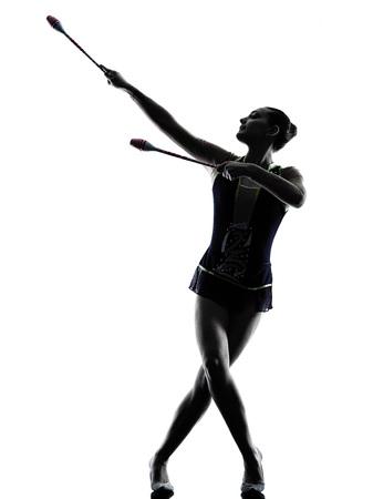 gymnastik: ein kaukasisch Frau, die Ausübung der Rhythmischen Sportgymnastik in der Silhouette isoliert auf weißem Hintergrund