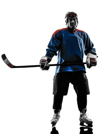 shadow silhouette: one caucasian man ice hockey player  in studio  silhouette isolated on white background Stock Photo