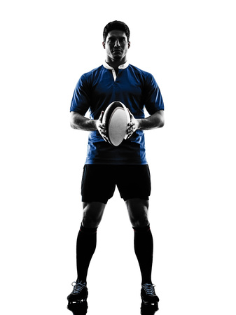 rugby player: one caucasian rugby man player  in studio  silhouette isolated on white background