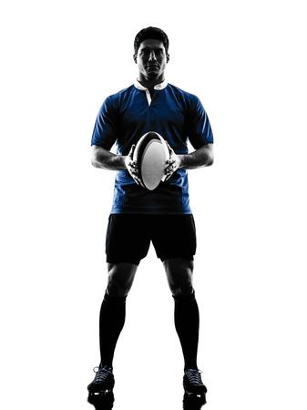 silueta humana: un cauc�sico hombre jugador de rugby en el estudio de la silueta aislado en el fondo blanco