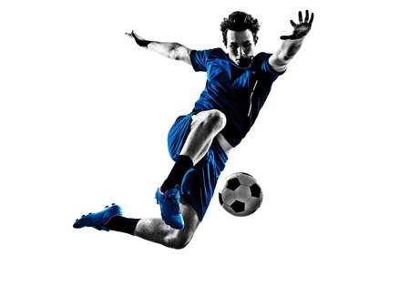 in action: One Italian Soccer Player Man Playing Football Jumping In Silhouette White Background