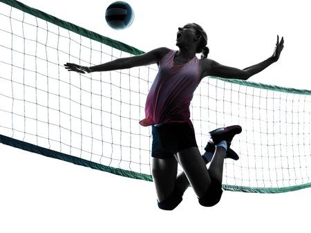 un caucásico mujer de voleibol en el estudio de la silueta aislado en el fondo blanco