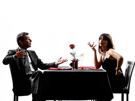 dispute: couples lovers dinning dispute arguing in silhouettes on white background