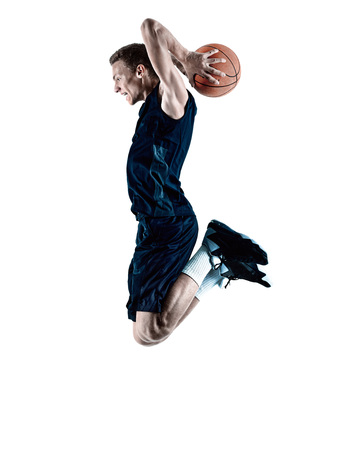 basketball player: one caucasian man basketball player isolated in silhouette white background Stock Photo