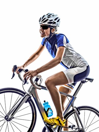 cycling: woman triathlon athlete  cyclist cycling on white background