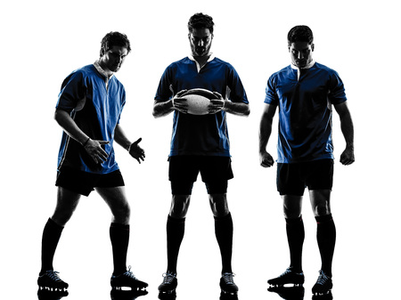 teammates: one caucasian rugby men players  in studio  silhouette isolated on white background
