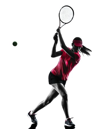human silhouette: one woman tennis player sadness in studio silhouette isolated on white background