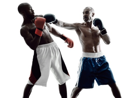 two men: two men boxers boxing on isolated silhouette white background