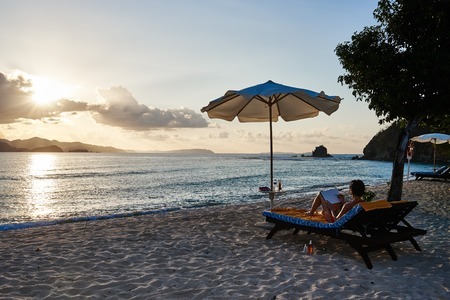white sand beach: white sand beach of coron island in Palawan Philippines Stock Photo