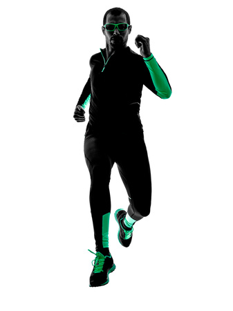 silhouette: one man runner jogger  running jogging  in silhouette isolated on white background