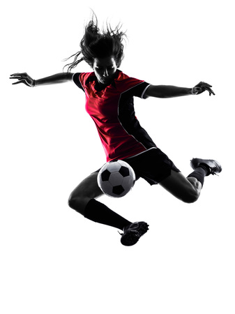 one woman playing soccer player in silhouette isolated on white background Imagens