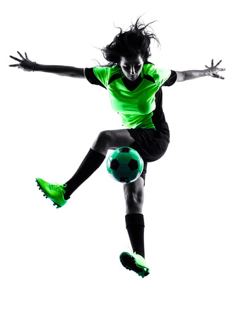 juggling: one woman playing soccer player in silhouette isolated on white background Stock Photo