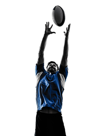 one caucasian rugby man player  in studio  silhouette isolated on white background Reklamní fotografie - 47670439
