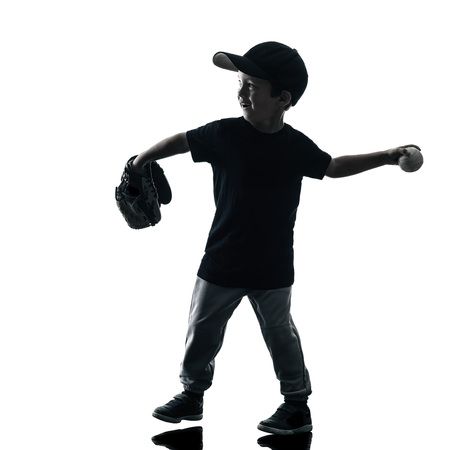 softball: child playing softball players in silhouette isolated on white background