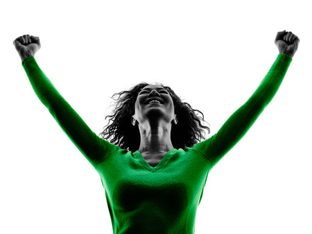 one mixed race young woman happiness arms raised silhouette isolated on white background Archivio Fotografico