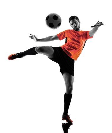 Un joueur de football caucasien Homme en silhouette isolé sur blanc backgound Banque d'images - 49120168