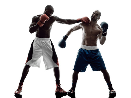 combative: two men boxers boxing on isolated silhouette white background