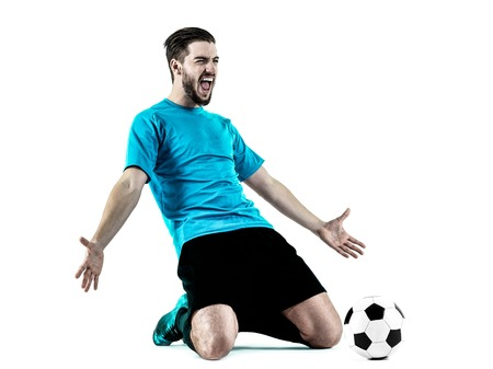 cheer full: one caucasian Soccer player Man isolated on white backgound