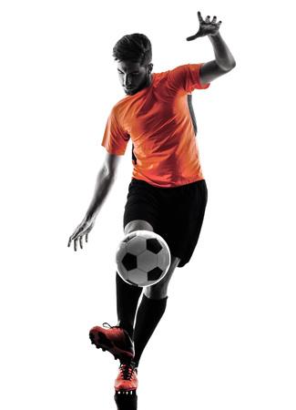 ein kaukasisch Soccer player Man in Silhouette auf weißen Hintergrund isoliert Lizenzfreie Bilder