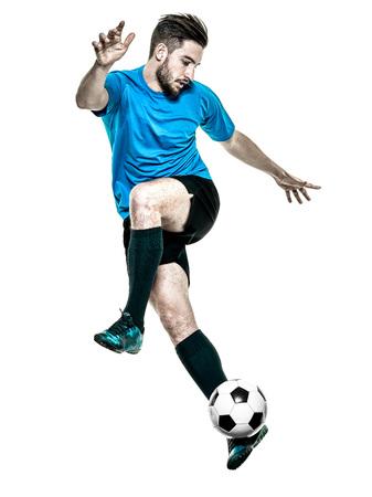 jugando futbol: un cauc�sico Jugador de f�tbol hombre aislado en backgound blanco Foto de archivo