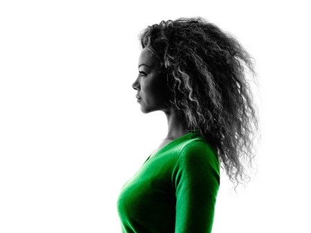 1: one mixed race young woman portrait profile  silhouette isolated on white background Stock Photo