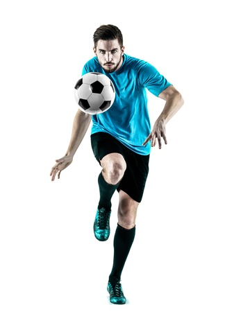 白い背景に分離された白人サッカー選手の男 1 写真素材