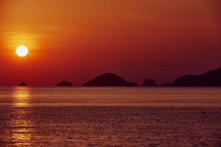 palawan: seascape  at sunset between El Nido and coron in Palawan Philippines Palawan Philippines