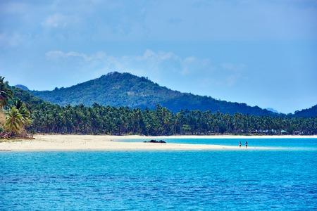 nido: Nacapan islands beaches between El Nido and coron in Palawan Philippines Stock Photo