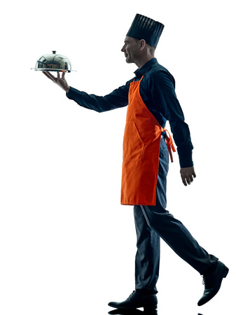people walking: one caucasian man cooking chef silhouette isolated on white background