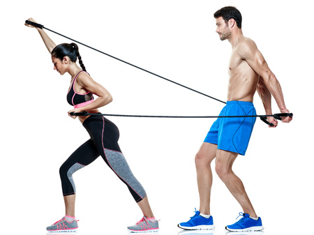 one caucasian couple man and woman exercising fitness exercises isolated on white background 스톡 콘텐츠
