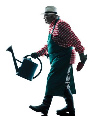 silueta hombre: un hombre caucásico hombre jardinero jardinería silueta aislados en blanco backgound Foto de archivo