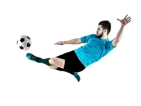 un caucásico Jugador de fútbol hombre aislado en backgound blanco Foto de archivo