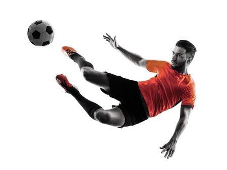 een blanke voetballer Man in silhouet geïsoleerd op witte achtergrondkleur